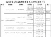 汕尾市新冠病毒核酸检测服务点名单及服务时间
