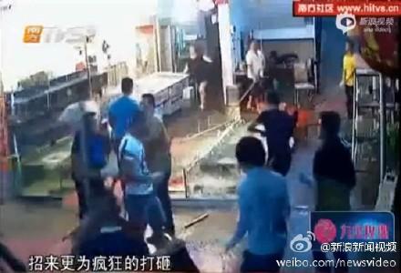海丰:一大巴车运来上百人 打砸和兴饭店 海丰