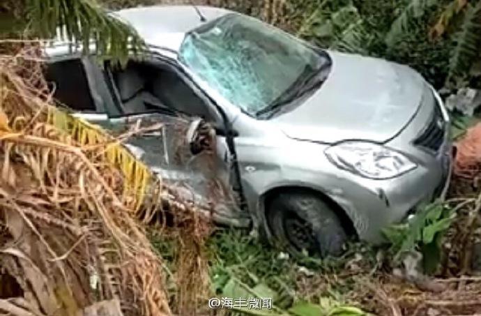 海丰324国道发生车祸致一伤 小轿车跌落沟边 海丰新闻 第2张