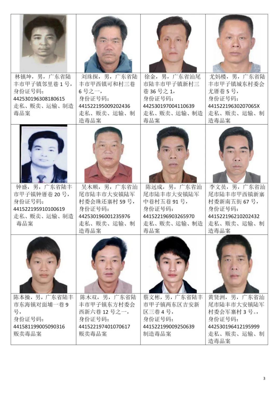 汕尾市公安局关于公开悬赏通缉92名涉毒逃犯的通告 汕尾新闻 第3张