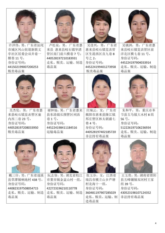 汕尾市公安局关于公开悬赏通缉92名涉毒逃犯的通告 汕尾新闻 第4张