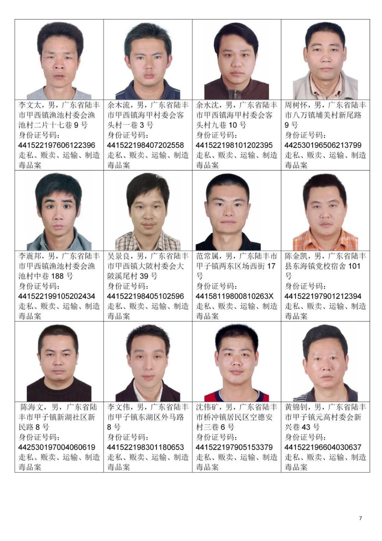 汕尾市公安局关于公开悬赏通缉92名涉毒逃犯的通告 汕尾新闻 第7张